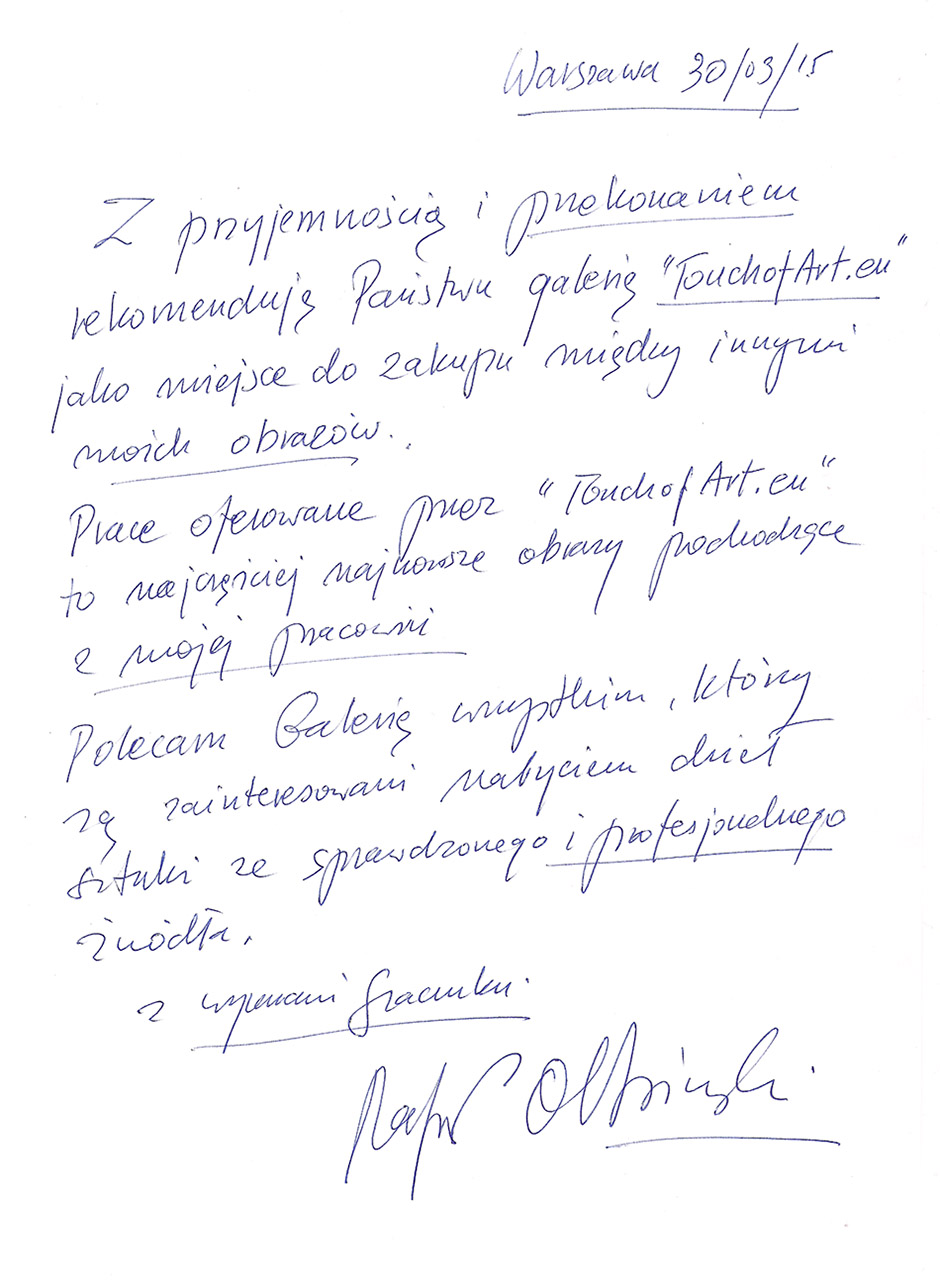 Referencja Rafał Olbiński dla TouchofArt.eu