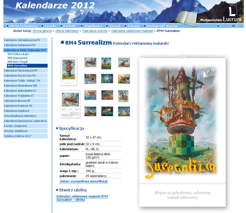 Kalendarz z Obrazami Jarosława Jaśnikowskiego na rok 2012