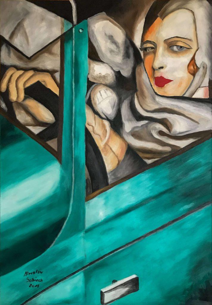 kopia obrazu Autoportret w zielonym Bugatti
