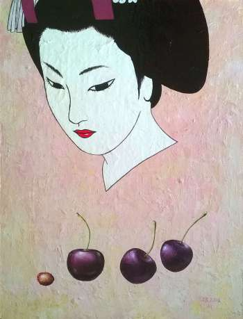 Geisha with cherries - Aleksander Bednarski