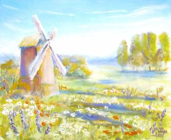 Windmill on a flowery meadow - Anna Baryła