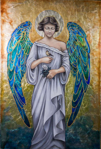 Guardian Angel with stained-glass wings - Anna Kloza Rozwadowska