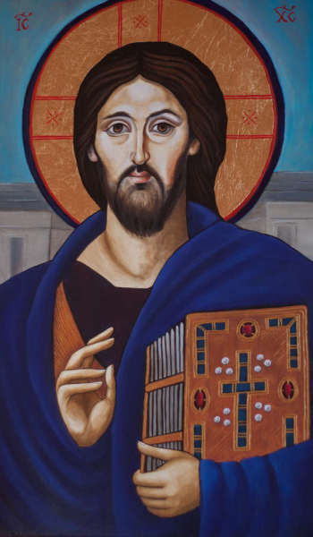 Icon Christ Pantokrator gift for the wedding anniversary - Anna Kloza Rozwadowska