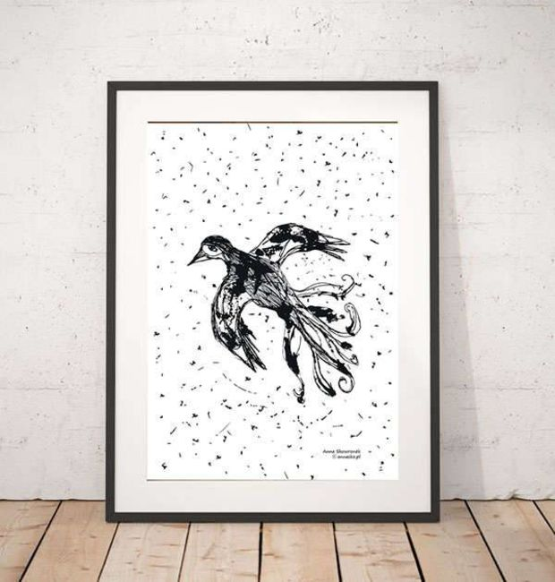 black and white graphics with a bird Anna Skowronek