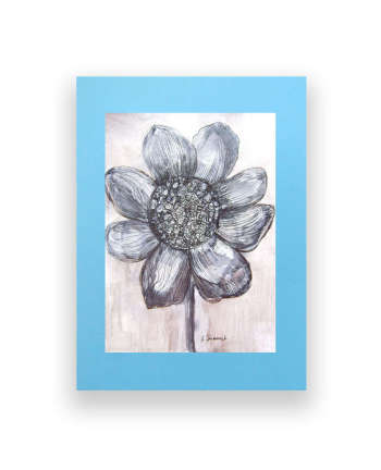 Black and white drawing of a flower - Anna Skowronek