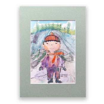 Boy in cap, hand painted illustration for children - Anna Skowronek
