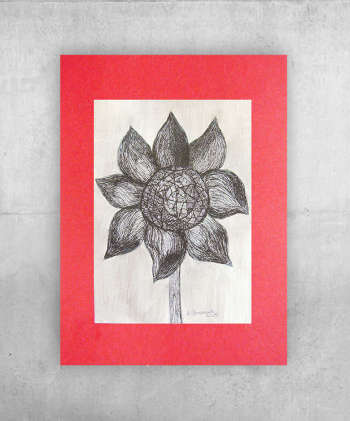 Black-and-white drawing of a flower - Anna Skowronek