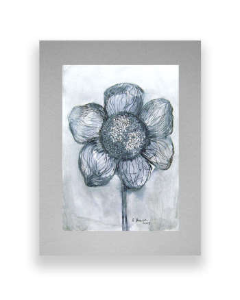 Black-white sketch, ink-flower drawing - Anna Skowronek