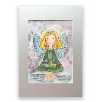 Happy angel, watercolor, hand painted picture - Anna Skowronek
