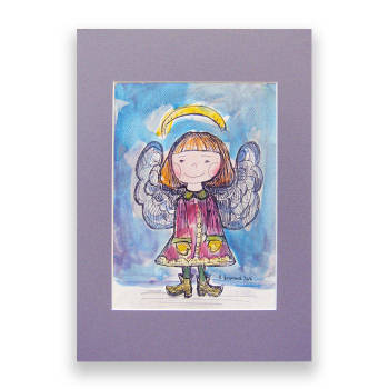 Winter angel, watercolor, hand painted picture - Anna Skowronek