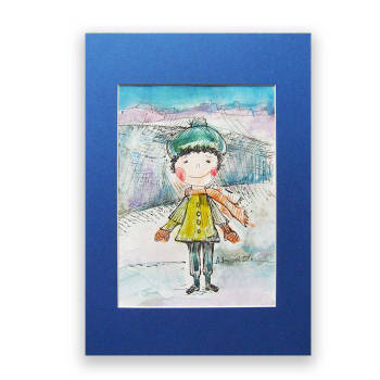 Winter boy 2, hand-painted illustration - Anna Skowronek