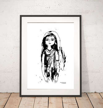black and white graphics with girl-poster - Anna Skowronek