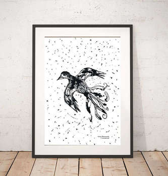 black and white graphics with a bird - Anna Skowronek