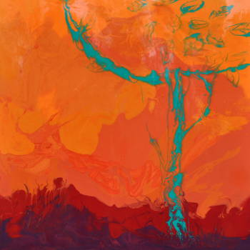 COOL TREE HOT SUMMER resin 100x100 - Beata Van Wijngaarden
