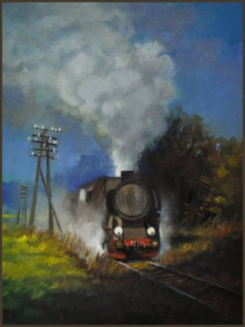 Picture of steam locomotive on the verge of summer 30x40cm GIERLACH - Damian Gierlach
