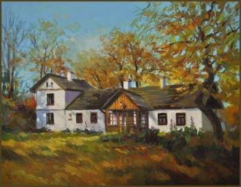 Oil painting of the Manor of Maria Konopnicka in Żarnowiec 35x45 GIERLACH - Damian Gierlach