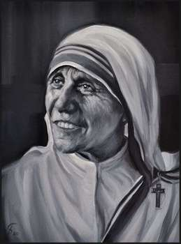 Oil painting Saint Mother Teresa of Calcutta 30x40 Portrait of GIERLACH - Damian Gierlach