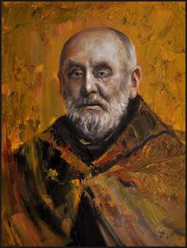 Oil painting Saint Brother Albert 30x40 Portrait of GIERLACH - Damian Gierlach