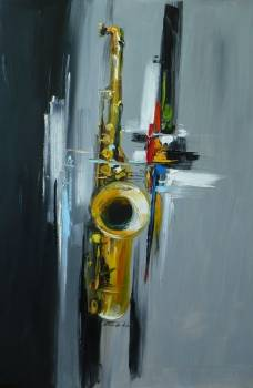 GREY ABSTRACTION with saxophone - Dorota Łaz