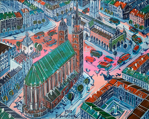Krakow - OIL PAINTING Edward Dwurnik