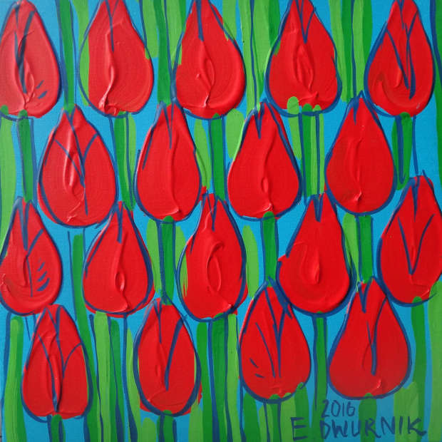 OIL PAINT Red tulips Edward Dwurnik