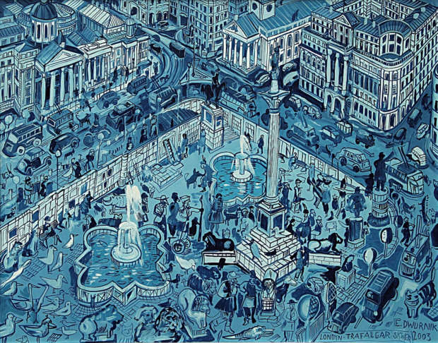 OIL PAINT London Trafalgar SQ Edward Dwurnik