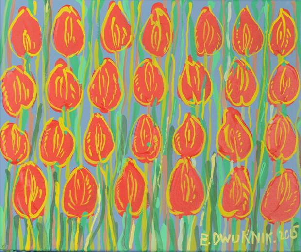 bright red tulips Edward Dwurnik