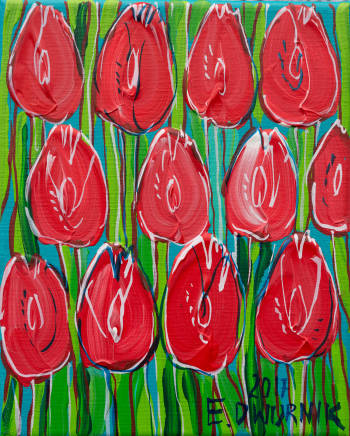 tulipes rouges - Edward Dwurnik