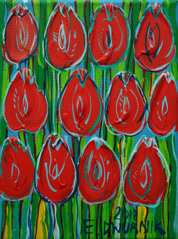 Red tulips - Edward Dwurnik