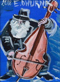 Double bass player (blue) - OIL PAINTING - Edward Dwurnik