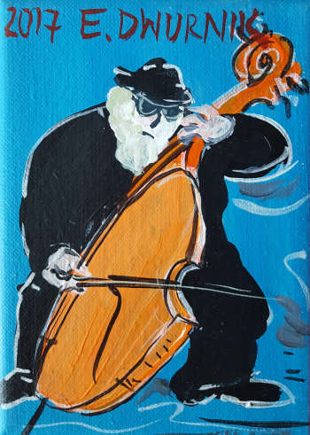 Double bass player (blue) - Edward Dwurnik