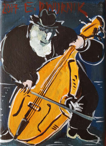 Double bass player. Navy blue - Edward Dwurnik