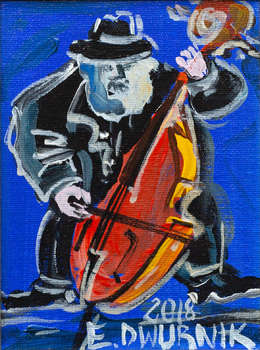 Double bass player (sapphire) - OIL PAINTING - Edward Dwurnik