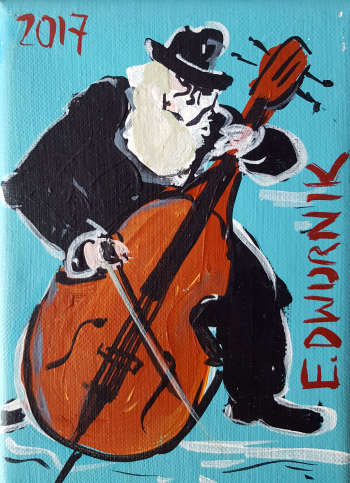 Double bass player (turquoise) - Edward Dwurnik