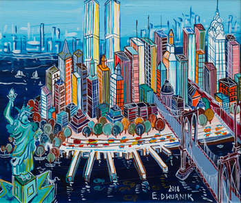 New York - PITTURA A OLIO - Edward Dwurnik