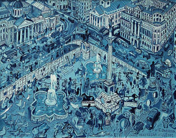 OIL PAINT London Trafalgar SQ - Edward Dwurnik