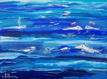 OIL PAINT - Sea - Polish defense drones, underwater - Edward Dwurnik