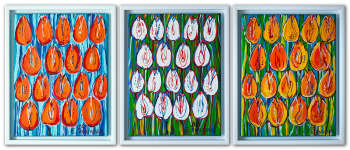 Tulips - Triptych (Orange, White, Yellow) - OIL PAINTING - Edward Dwurnik