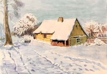 Wooden Hut in the Snow - Ewa Zakrzewska