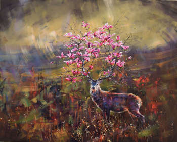 The deer with magnolia - Gabriel Bodnariu