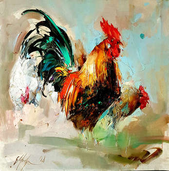 Rooster and chickens - Grażyna Mucha