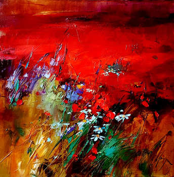 Meadow in red - Grażyna Mucha