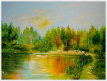 Oil painting on the pond - Grażyna Potocka