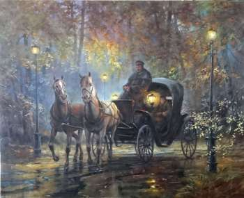 A horse-drawn carriage with lanterns - Igor Janczuk