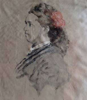 portrait paint on silk 100 years old - Irena Piątkiewicz