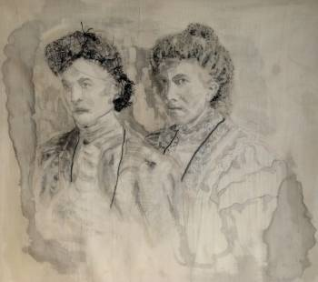 portrait paint on silk 100 yrs old - Irena Piątkiewicz