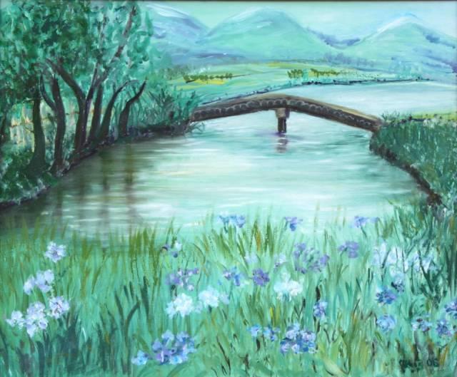 Super Wiosenny krajobraz z mostkiem - Jadwiga Rudnicka   TouchofArt RI88