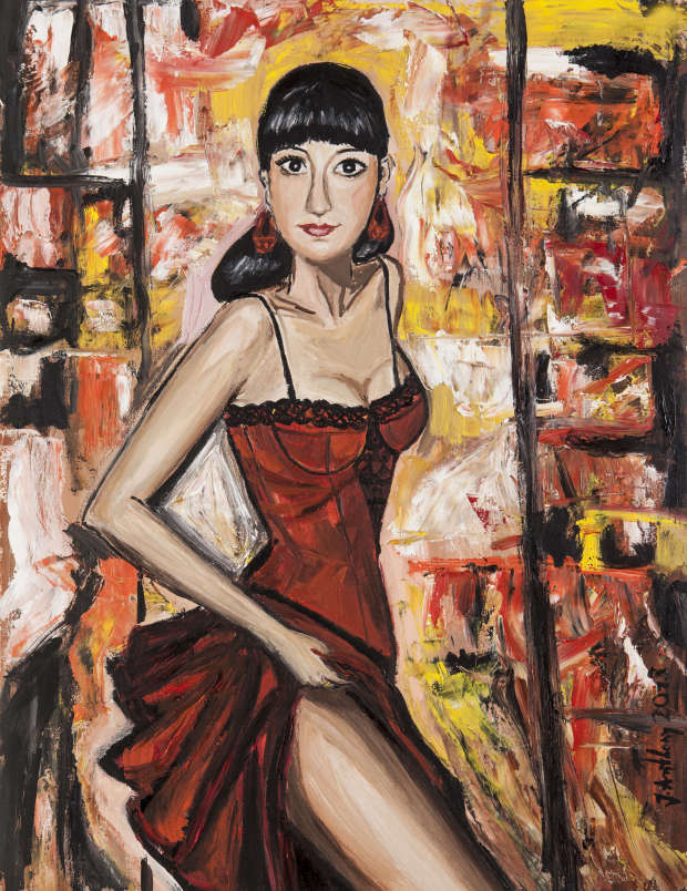 Dame en robe rouge Justyna Anthony