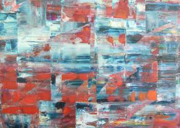 Abstraction bleu et rouge - Kazimierz Komarnicki