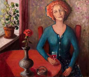 One with wine and a cigarette - Krystyna Ruminkiewicz